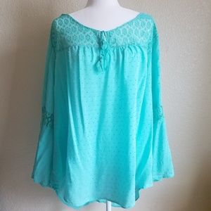Cato PLUS SIZE Bell Sleeve Blouse Lace Boho Teal